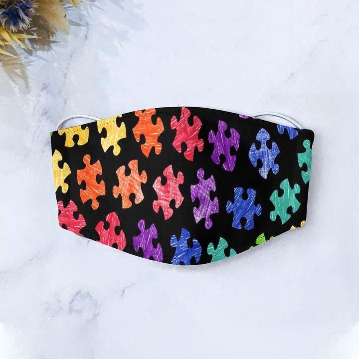 Autism awareness month puzzle pieces colorful anti-dust cotton face mask 1