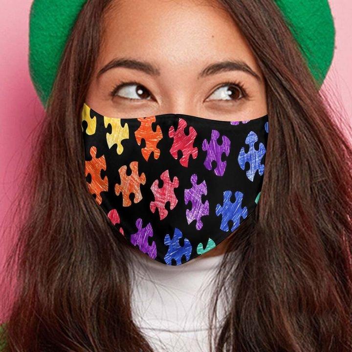 Autism awareness month puzzle pieces colorful anti-dust cotton face mask 2