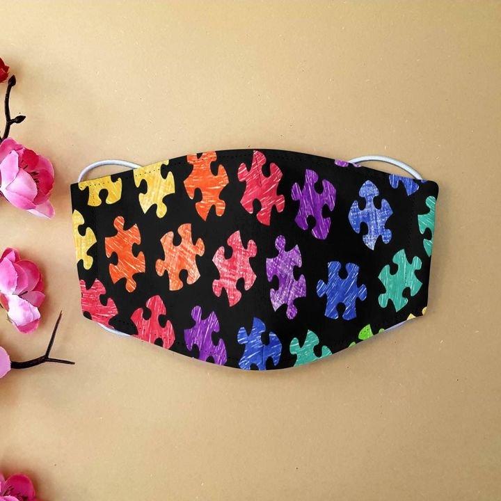 Autism awareness month puzzle pieces colorful anti-dust cotton face mask 3
