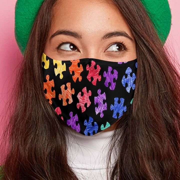 Autism awareness month puzzle pieces colorful anti-dust cotton face mask 4