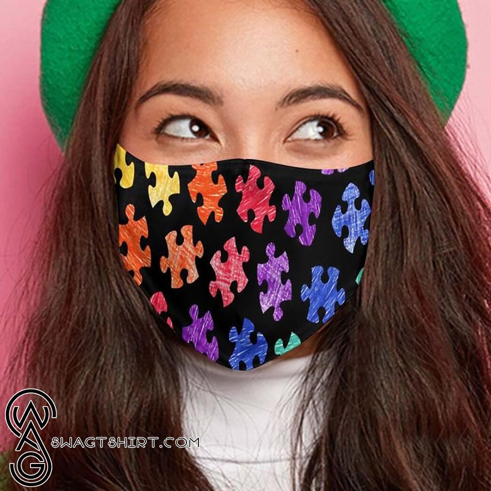 Autism awareness month puzzle pieces colorful anti-dust cotton face mask