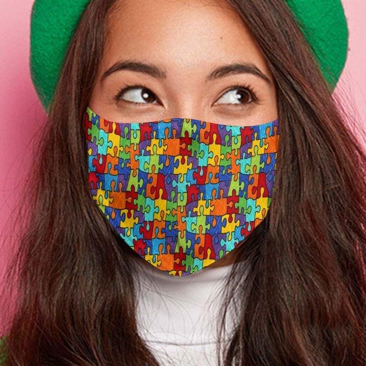 Autism awareness puzzle pieces anti-dust cotton face mask 2