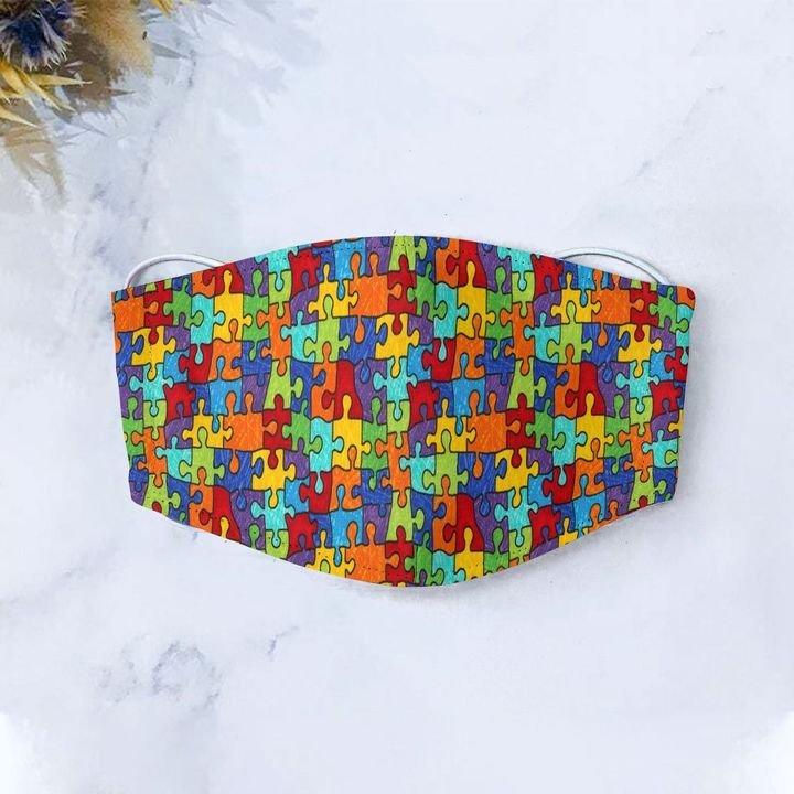 Autism awareness puzzle pieces anti-dust cotton face mask 4