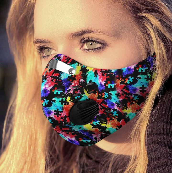 Autism awareness watercolor filter activated carbon face mask 2
