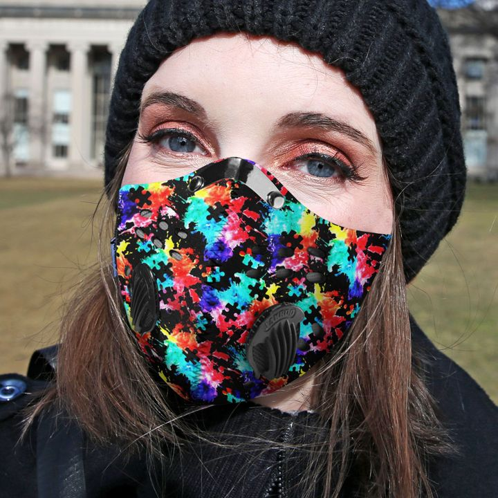 Autism awareness watercolor filter activated carbon face mask 3