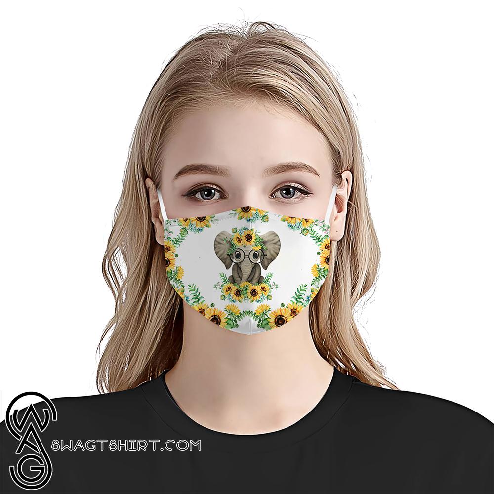 Baby elephant sunflower anti-dust cotton face mask
