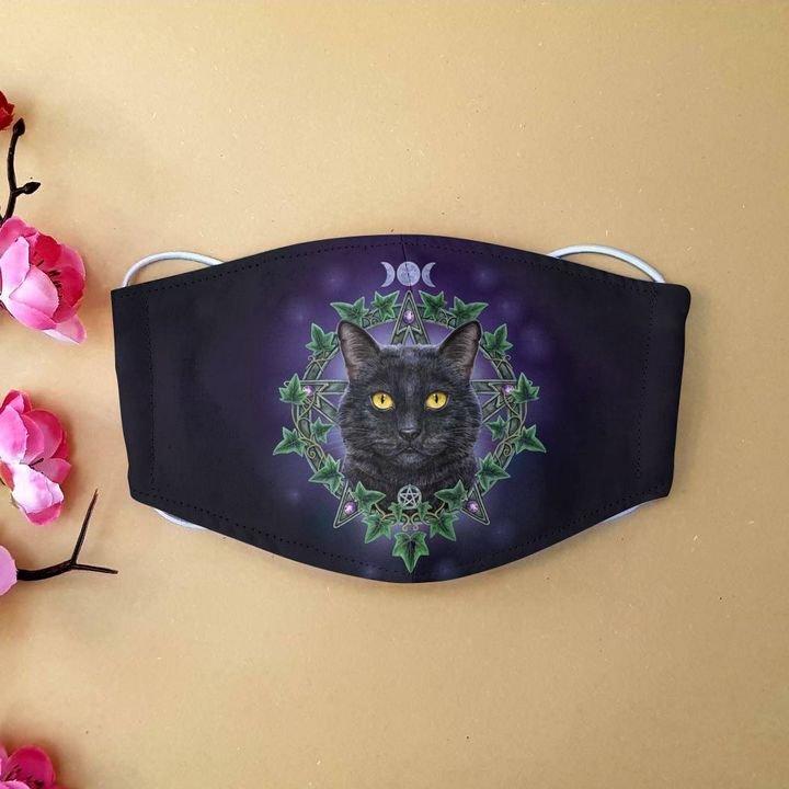Black cat night anti-dust cotton face mask 1