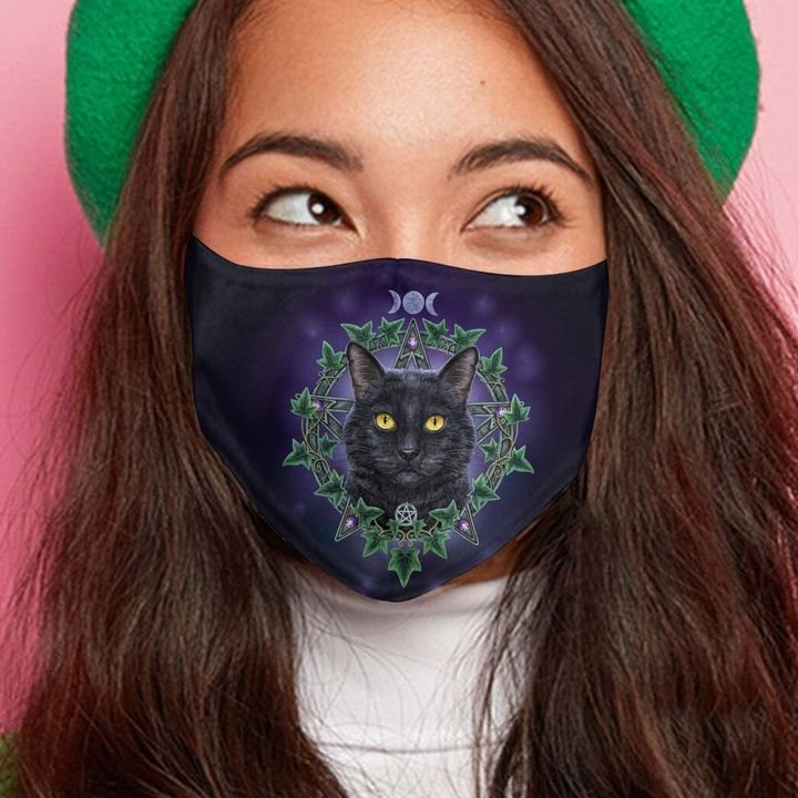Black cat night anti-dust cotton face mask 4