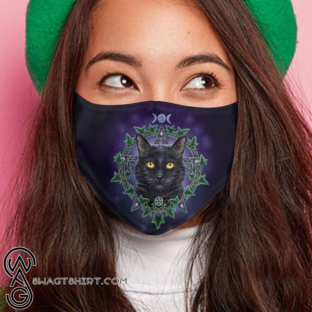Black cat night anti-dust cotton face mask