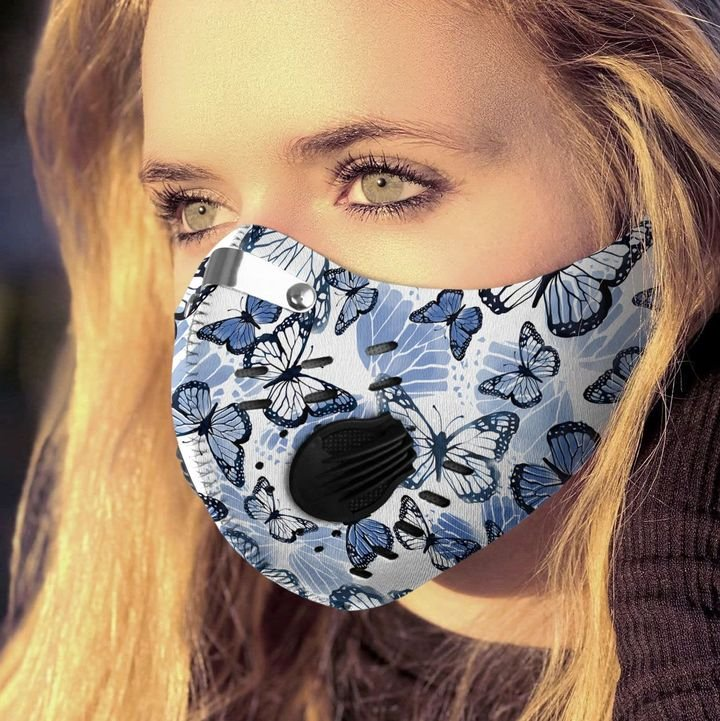 Blue butterfly pattern filter activated carbon face mask 2