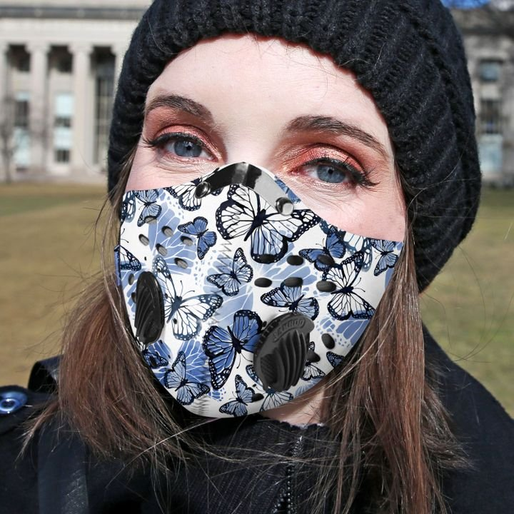 Blue butterfly pattern filter activated carbon face mask 3