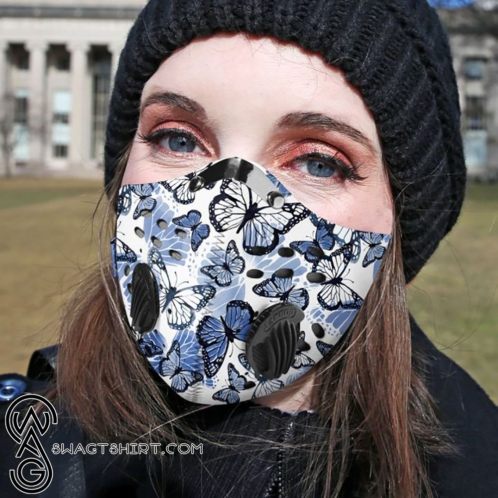 Blue butterfly pattern filter activated carbon face mask