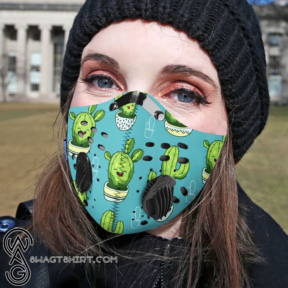 Blue cactus pattern filter activated carbon face mask