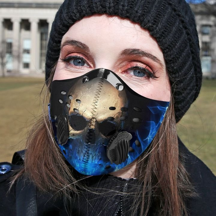 Blue flame skull filter activated carbon face mask 1