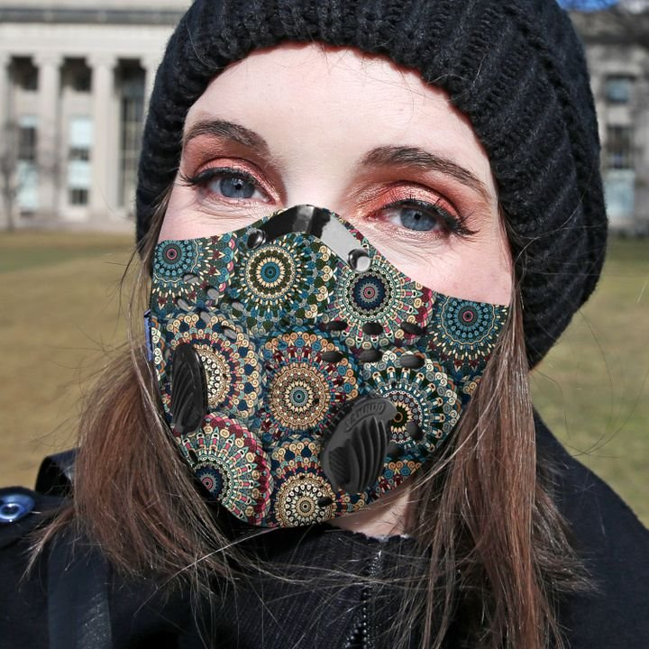 Boho chic flower filter activated carbon face mask 1