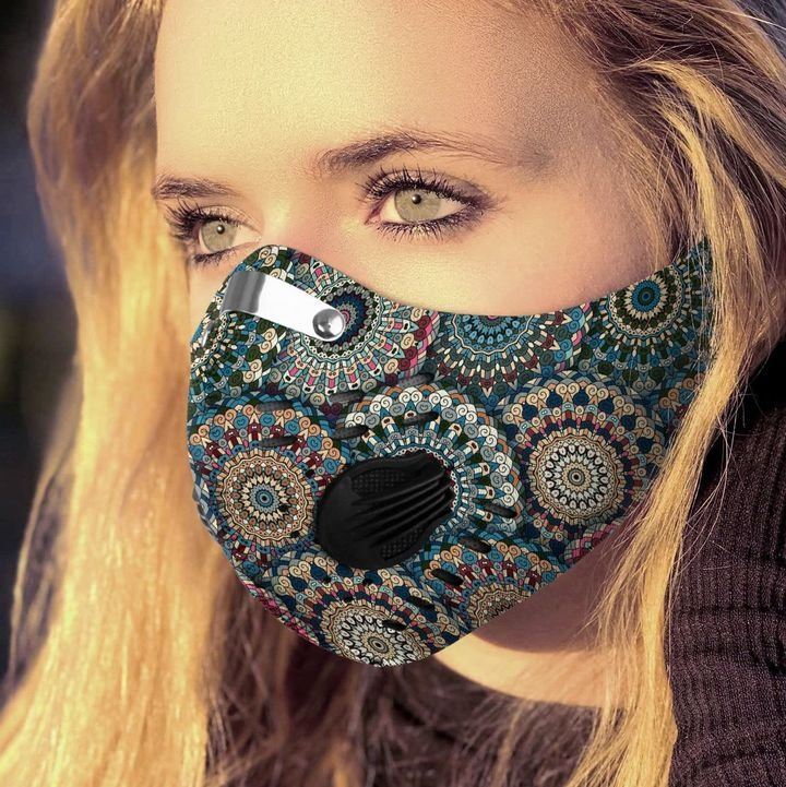 Boho chic flower filter activated carbon face mask 3