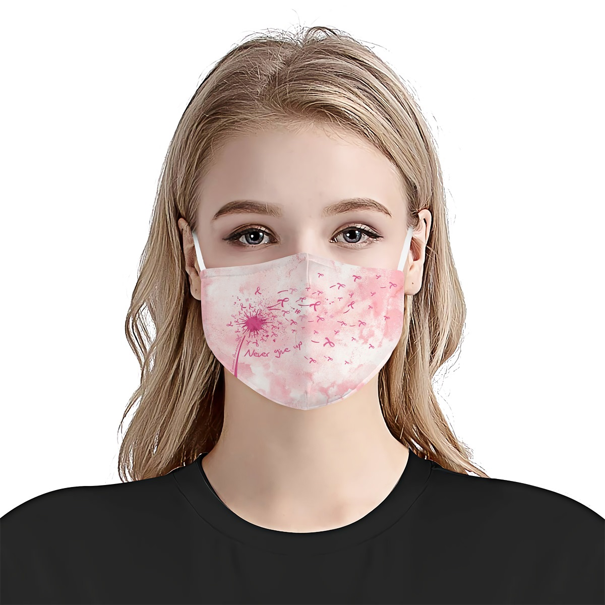 Breast cancer awareness never give up anti-dust cotton face mask 1