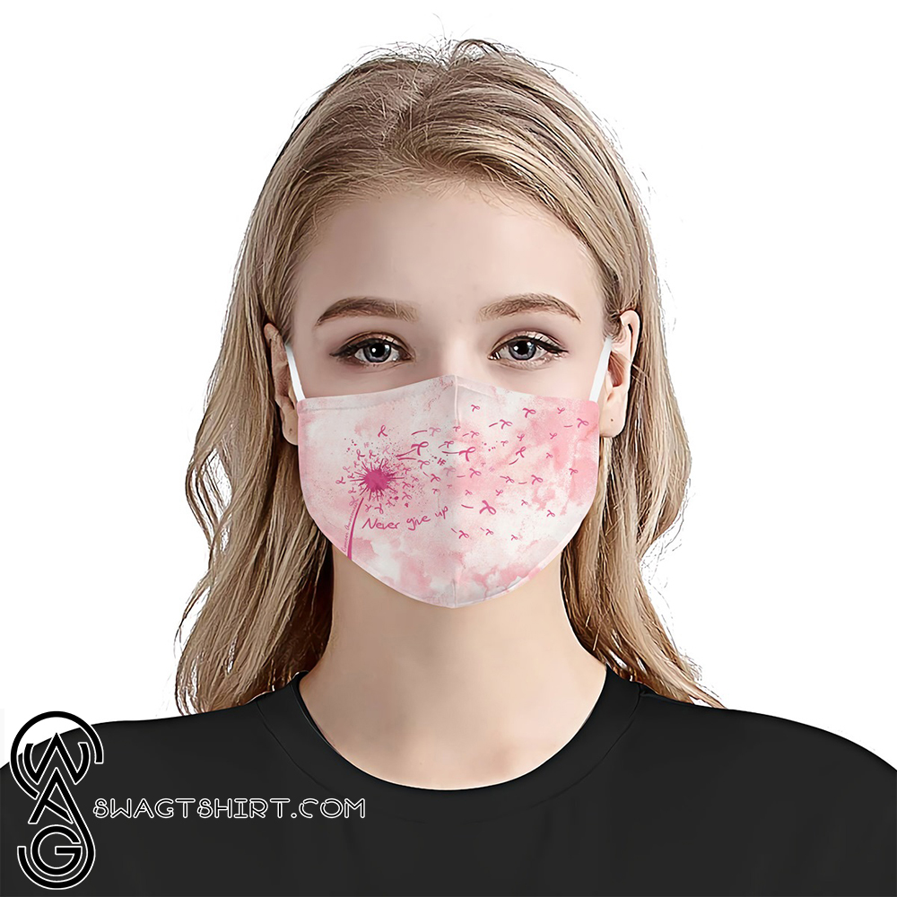 Breast cancer awareness never give up anti-dust cotton face mask