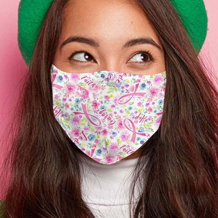 Breast cancer pink flowers anti-dust cotton face mask 2