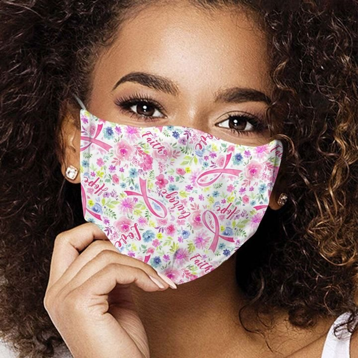 Breast cancer pink flowers anti-dust cotton face mask 4
