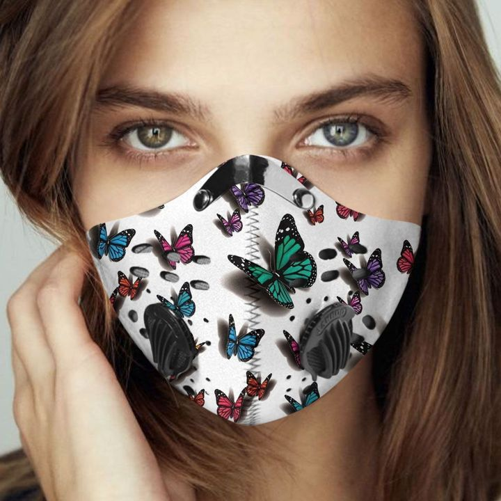 Butterflies fly away filter activated carbon face mask 2