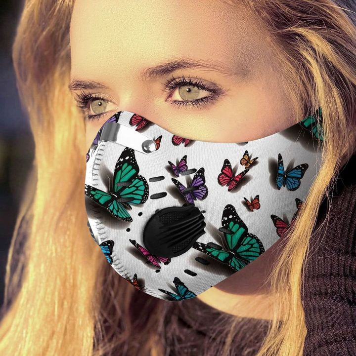 Butterflies fly away filter activated carbon face mask 3