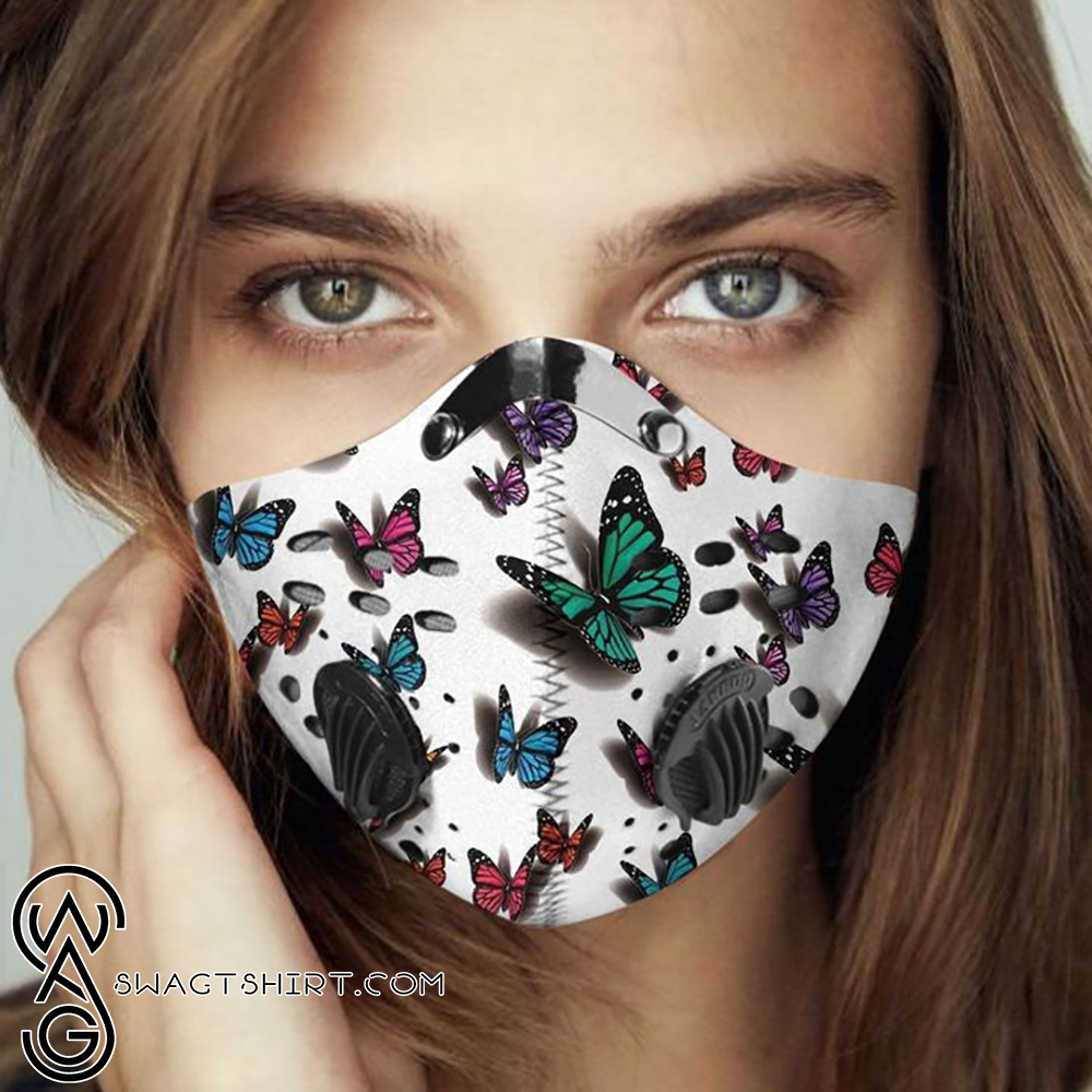 Butterflies fly away filter activated carbon face mask