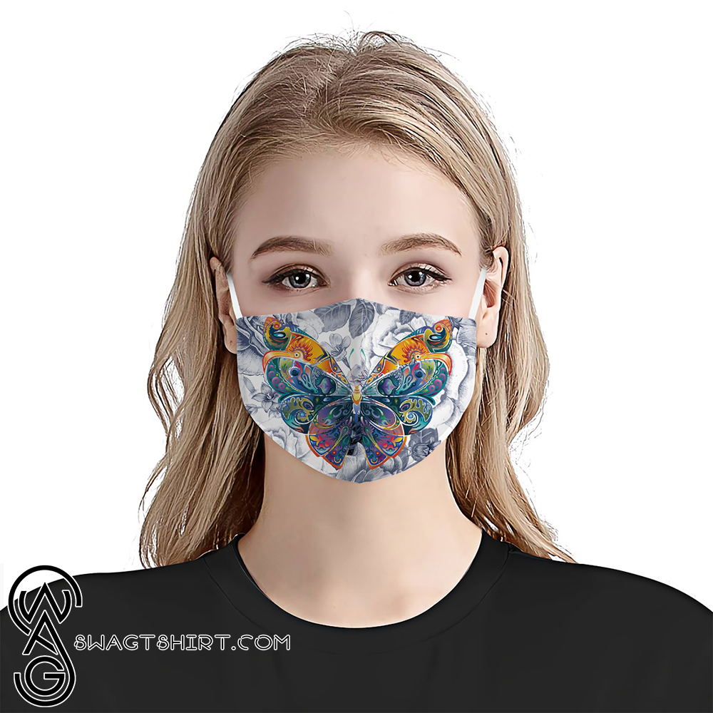 Butterfly colorful vintage anti-dust cotton face mask
