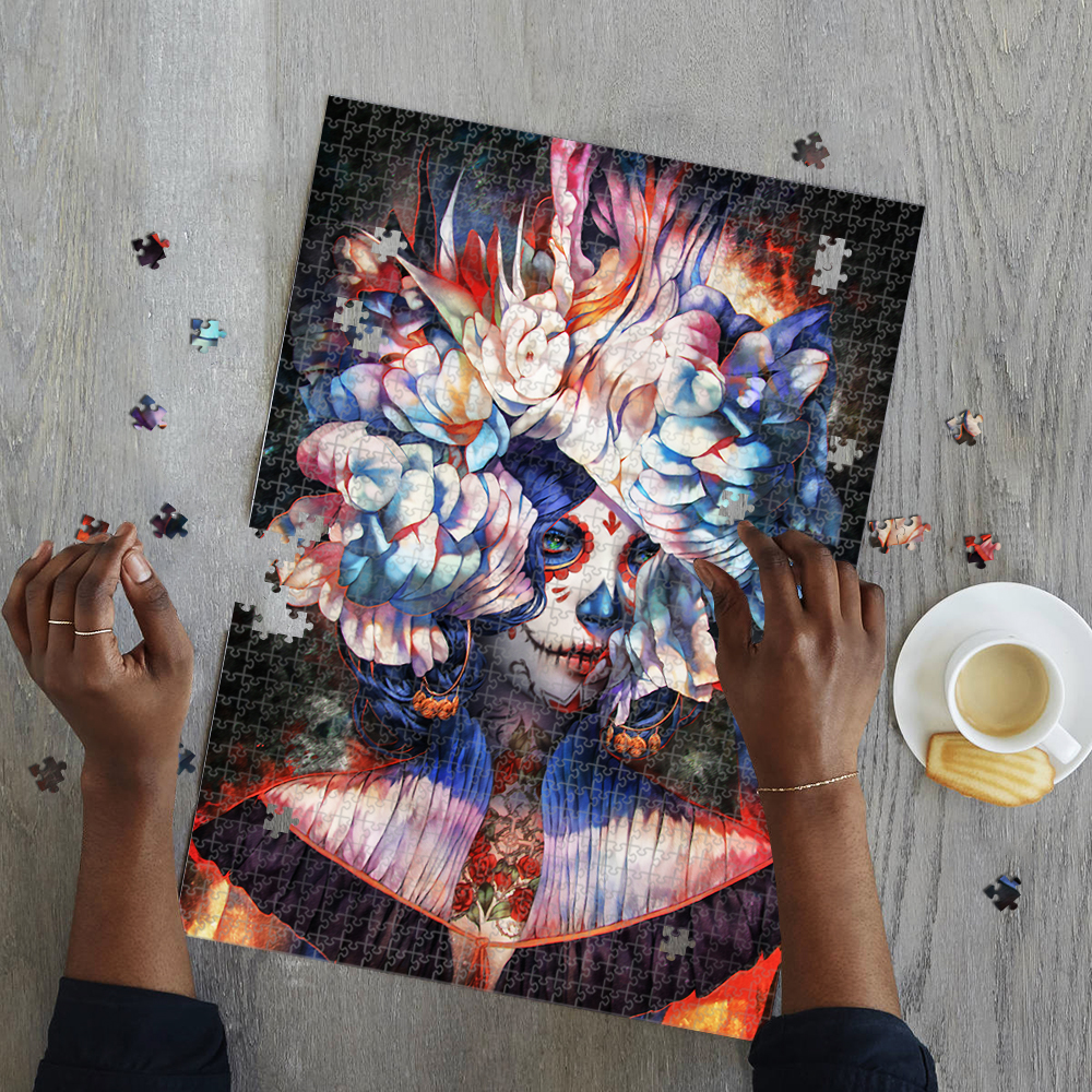Candy skull lady jigsaw puzzle 2