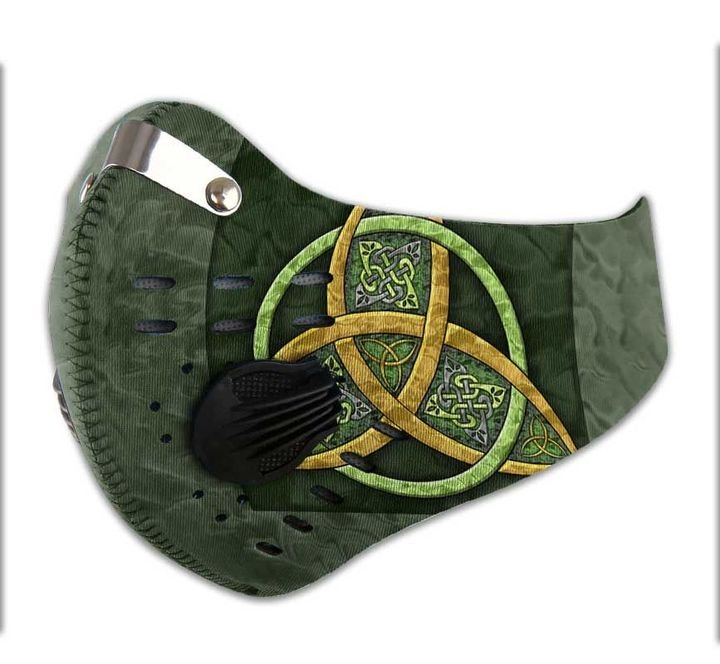 Celtic trinity knot filter activated carbon face mask 4
