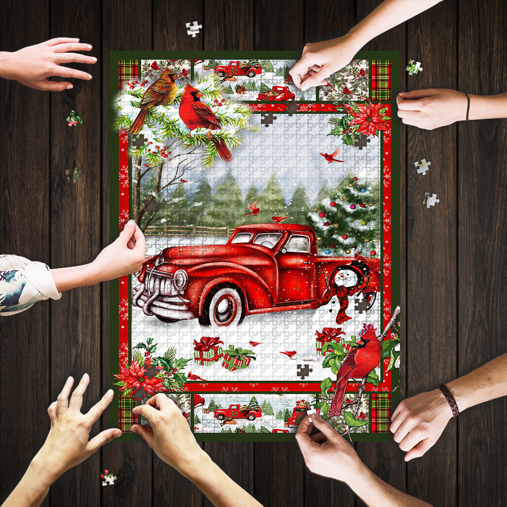 Christmas red truck cardinal jigsaw puzzle 1