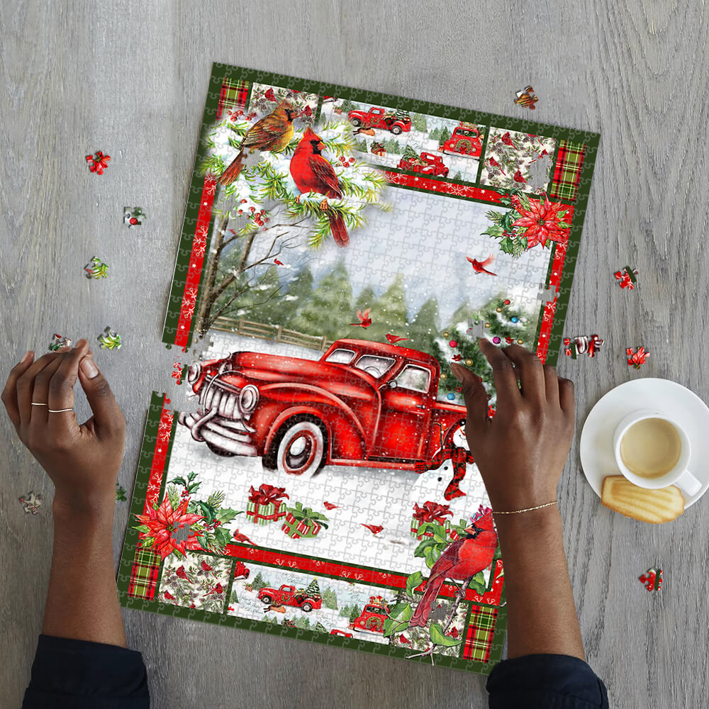 Christmas red truck cardinal jigsaw puzzle 2