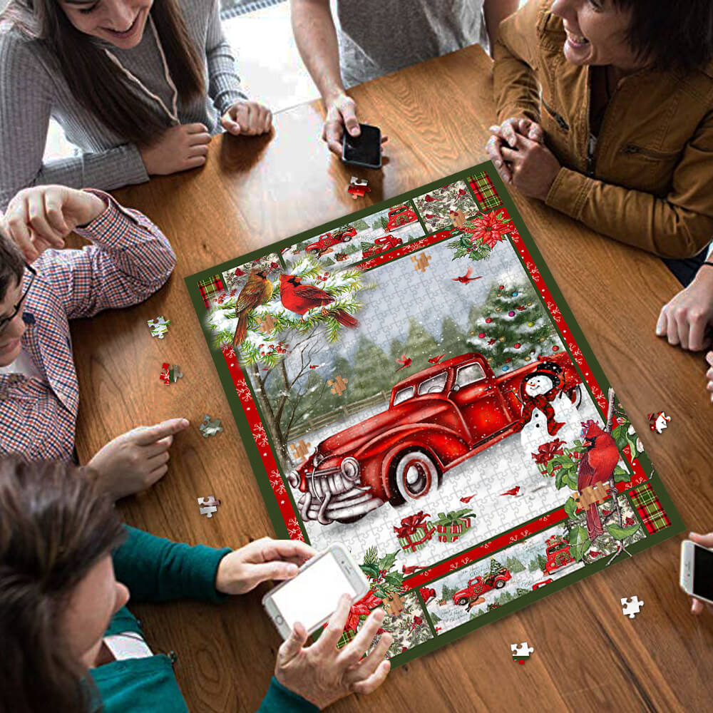 Christmas red truck cardinal jigsaw puzzle 3