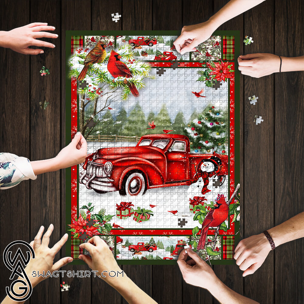 Christmas red truck cardinal jigsaw puzzle