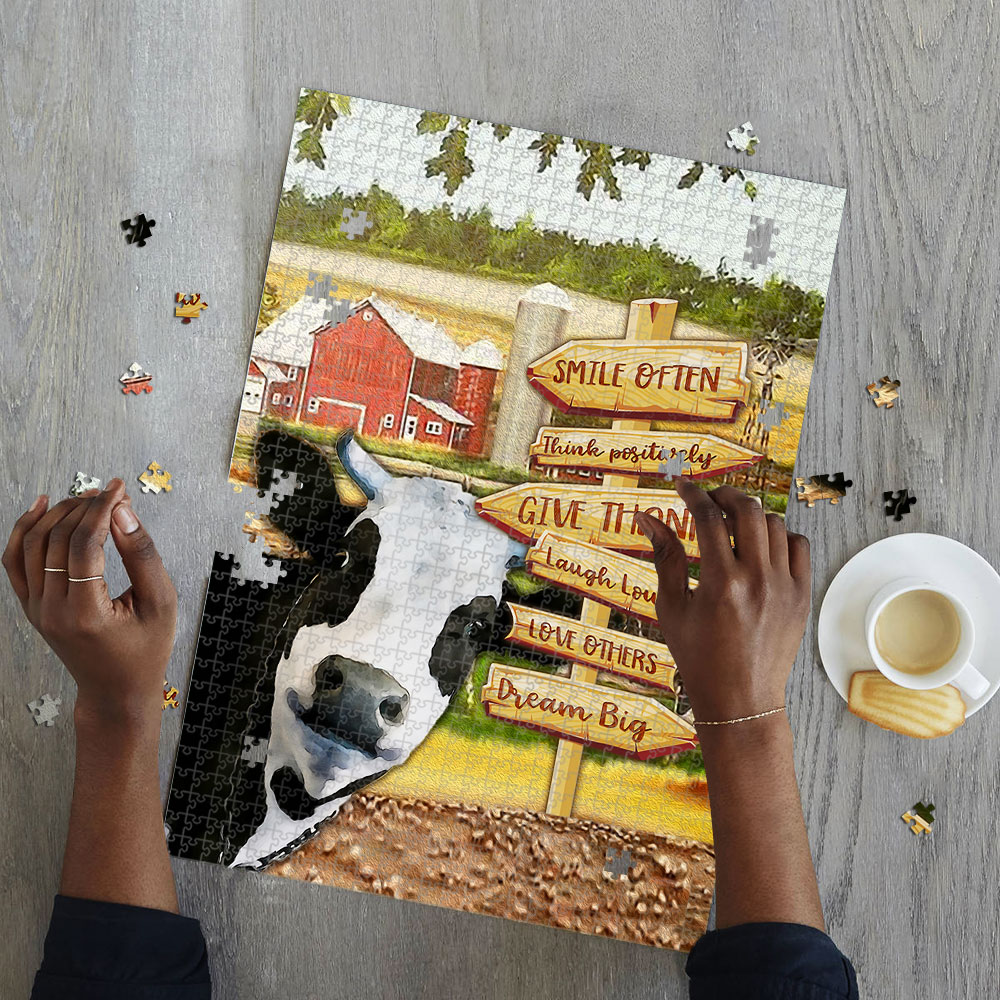 Cow smile often think positively jigsaw puzzle 4