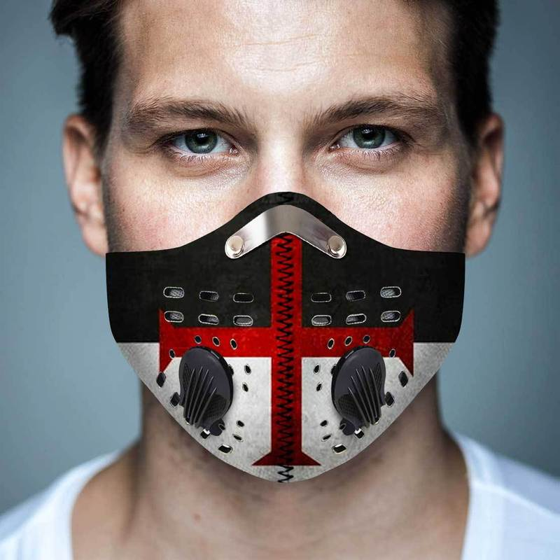 Cross of the knights templar filter activated carbon face mask 1