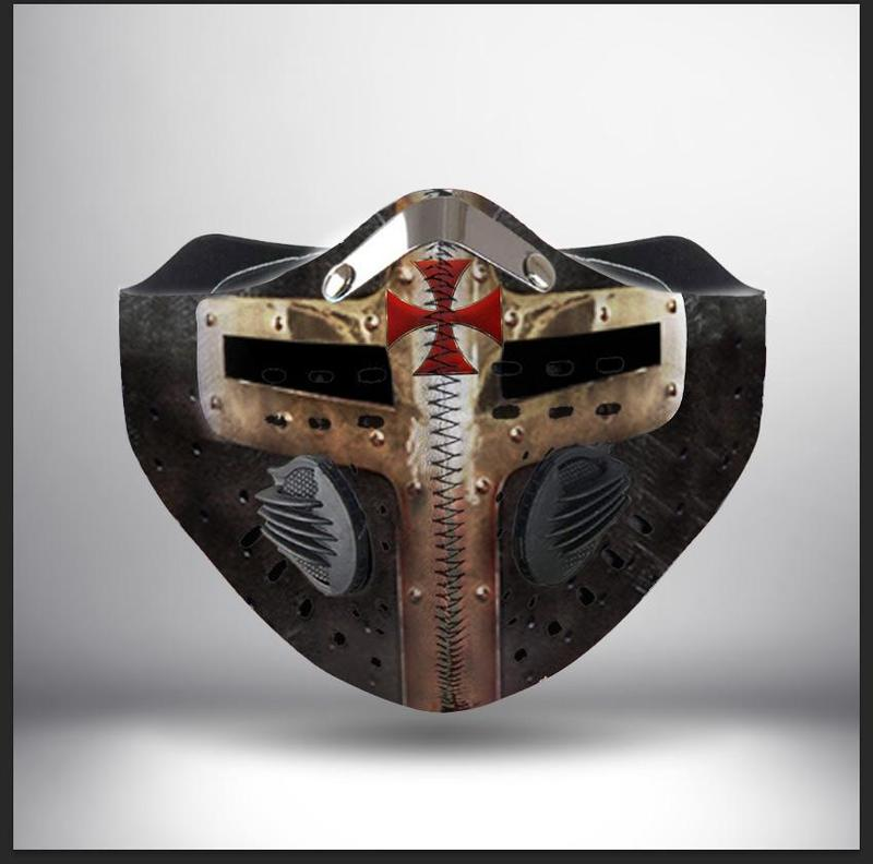 Cross of the knights templar helmet filter activated carbon face mask 1