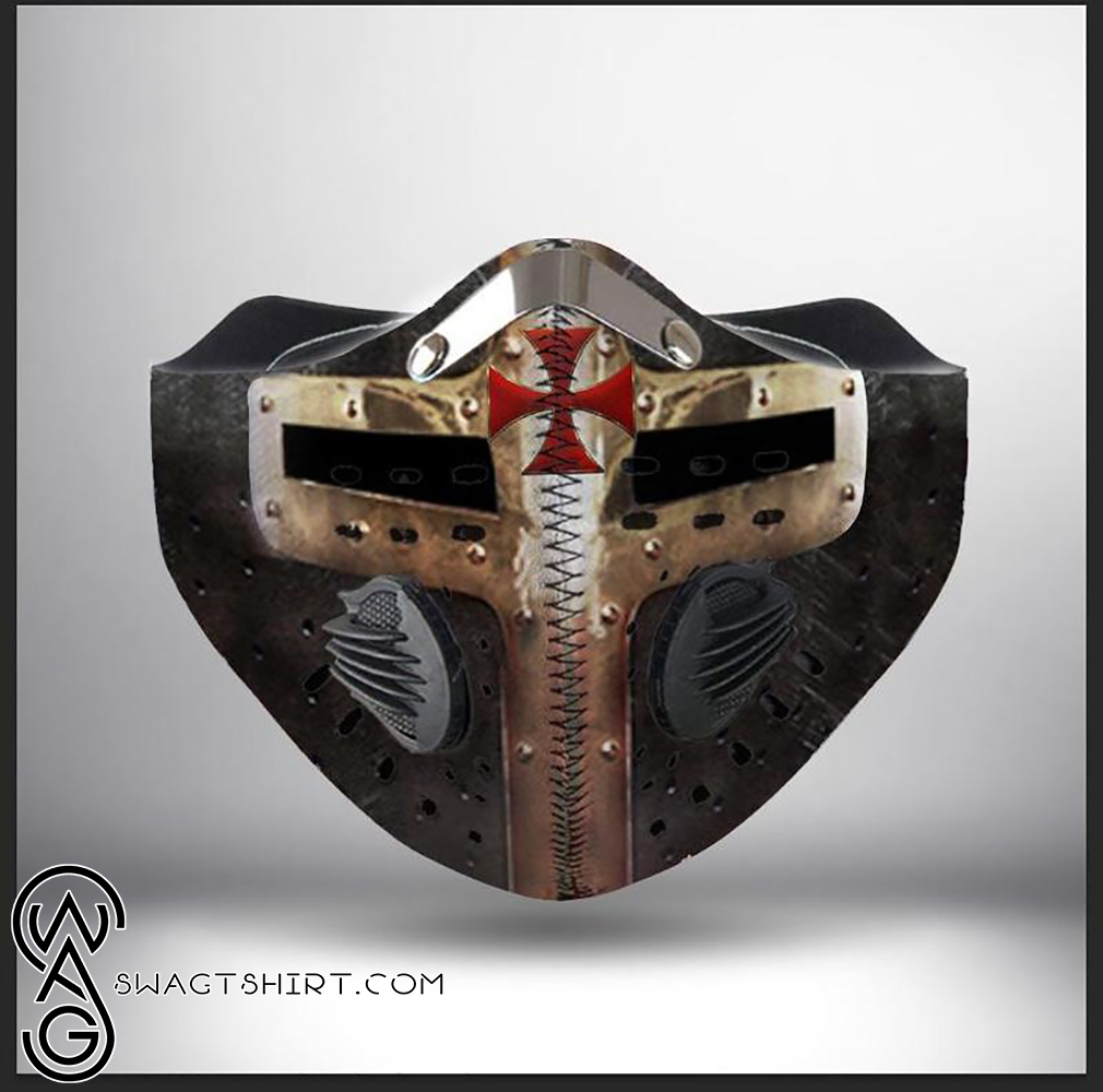 Cross of the knights templar helmet filter activated carbon face mask
