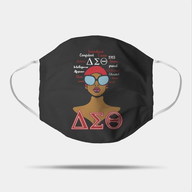 Delta sigma theta 1913 sorority black girl cotton face mask 1