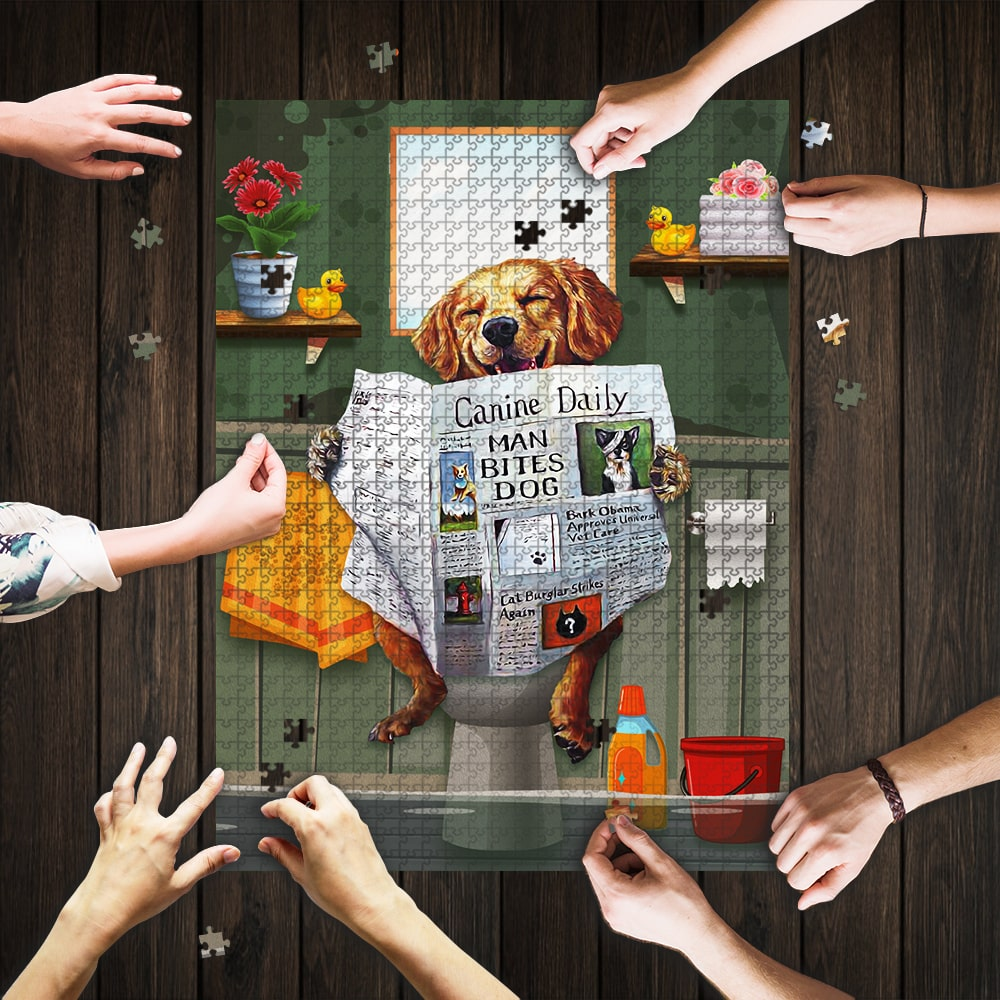 Dog golden great ideas come from sitting on the toilet jigsaw puzzle 1