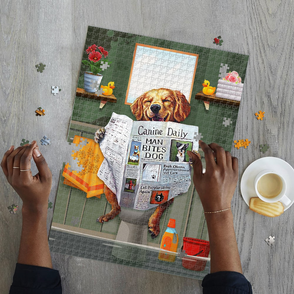 Dog golden great ideas come from sitting on the toilet jigsaw puzzle 4