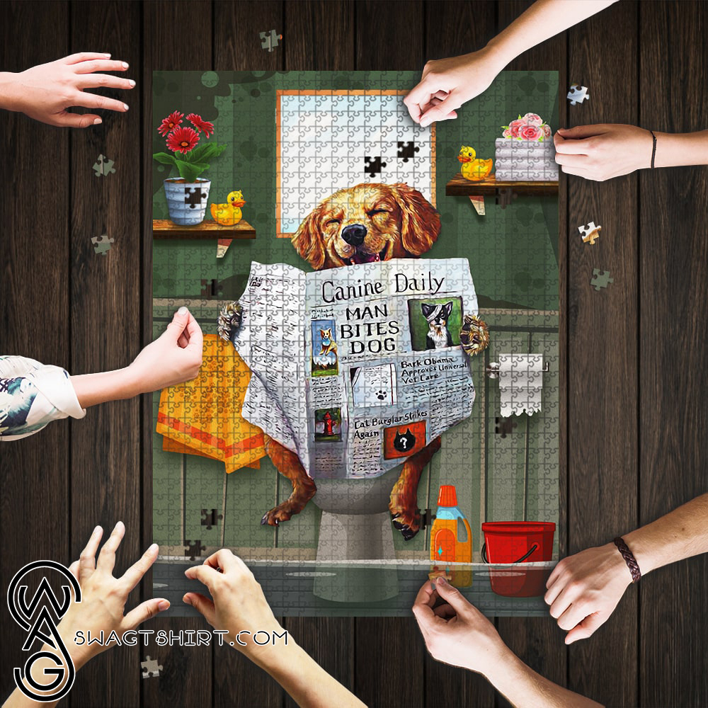 Dog golden great ideas come from sitting on the toilet jigsaw puzzle