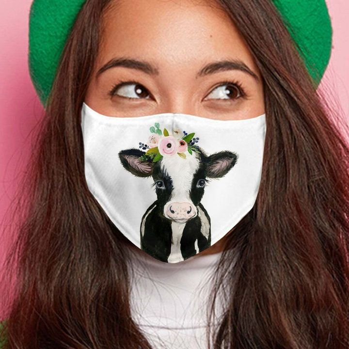 Floral baby cow anti-dust face mask 1