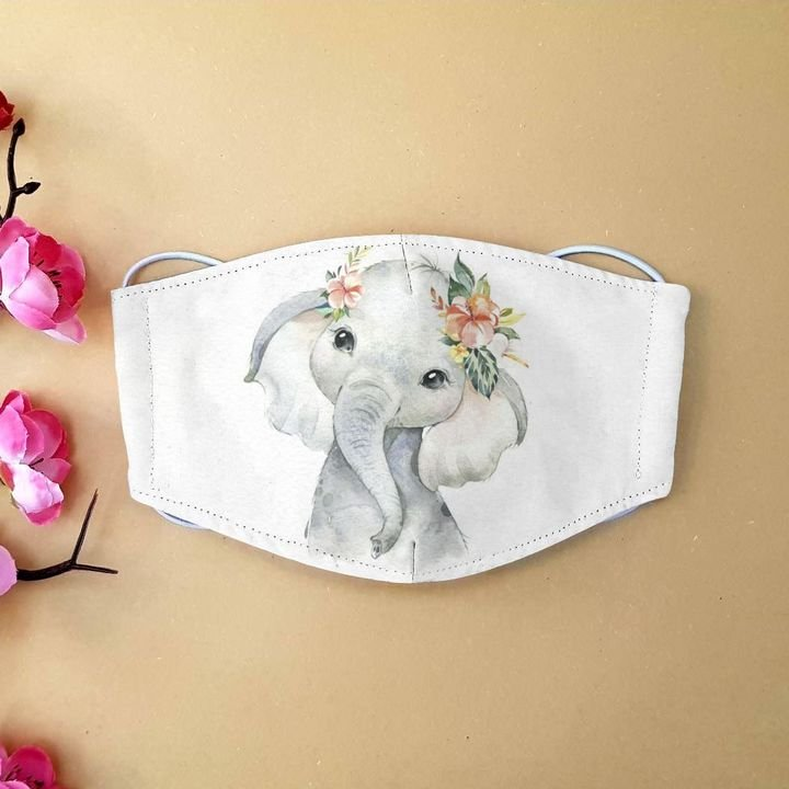 Floral baby elephant anti-dust cotton face mask 1