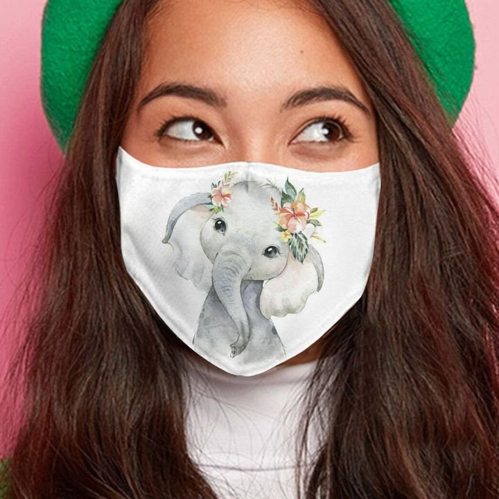 Floral baby elephant anti-dust cotton face mask 3