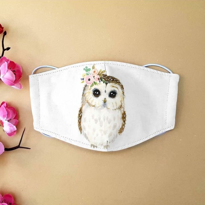 Floral baby owl anti-dust cotton face mask 1