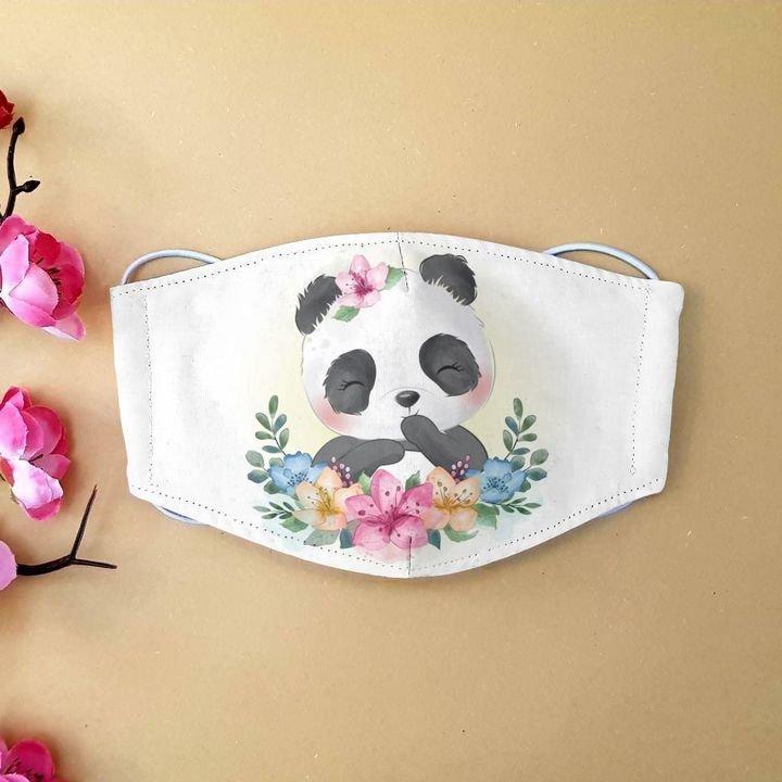 Floral little panda anti-dust cotton face mask 2