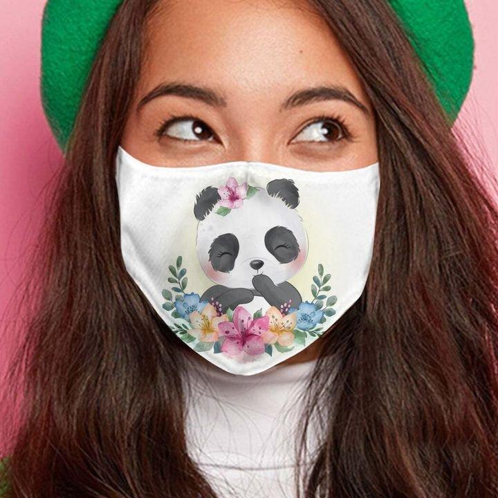 Floral little panda anti-dust cotton face mask 4