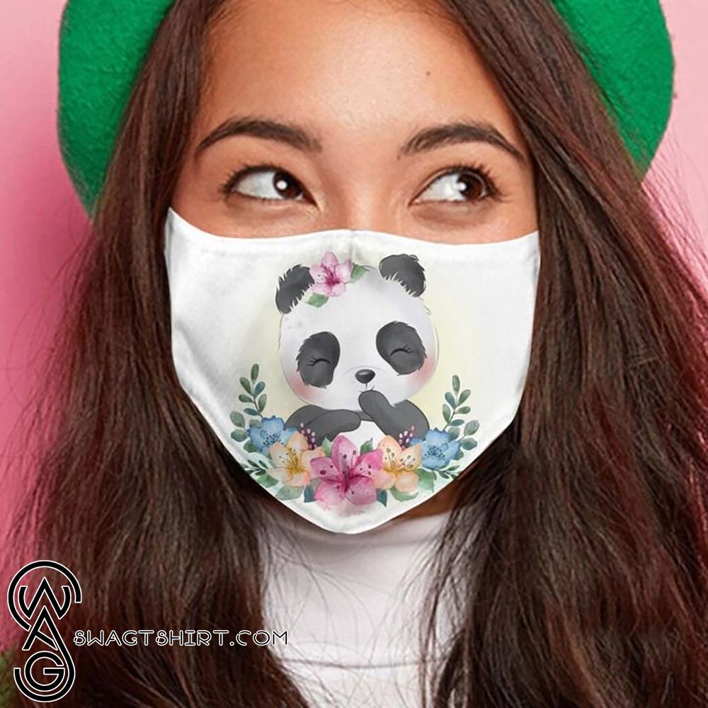 Floral little panda anti-dust cotton face mask