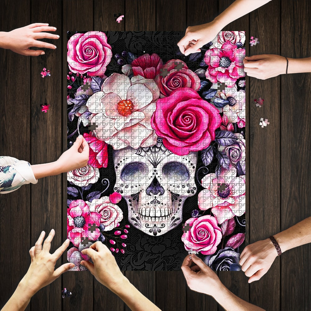 Flower and sugar skull jigsaw puzzle 1